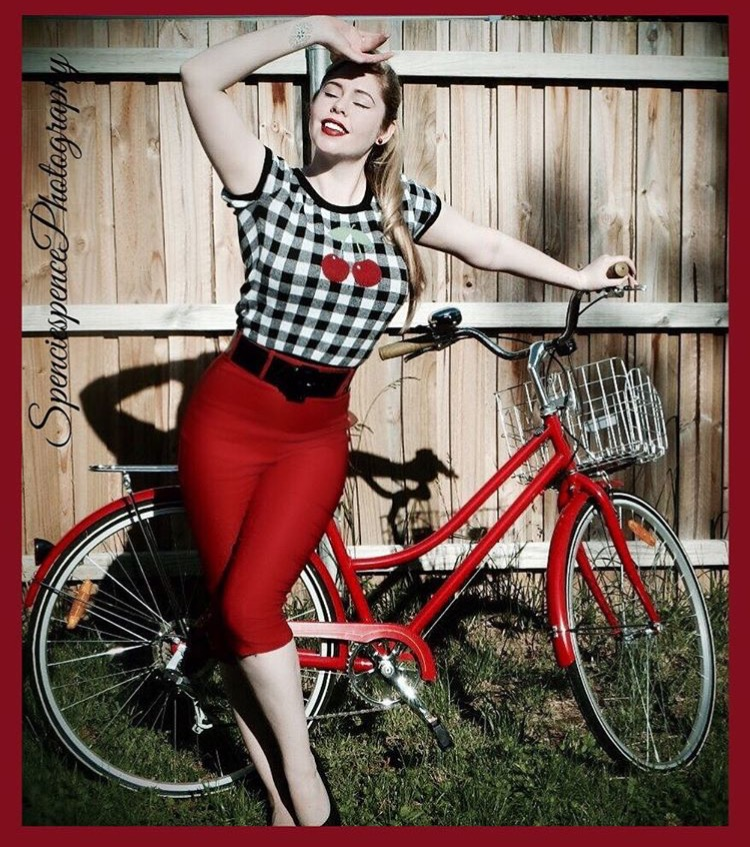 pinup girl with bike retro betty