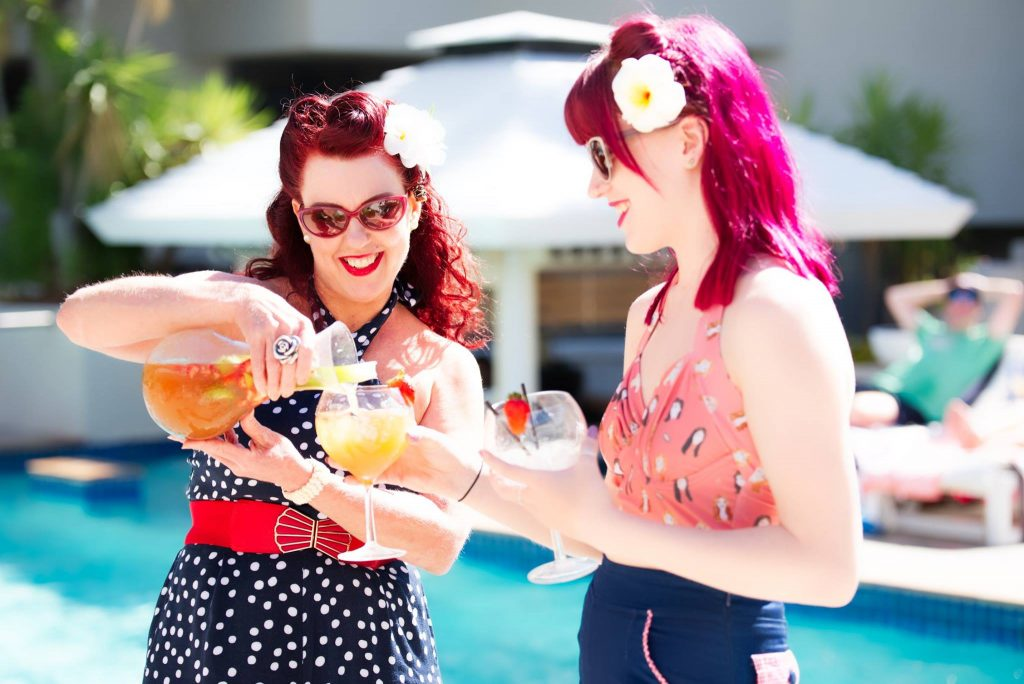 Retro Betty Lindy Charm School pinup pool party QT Hotel Gold Coast