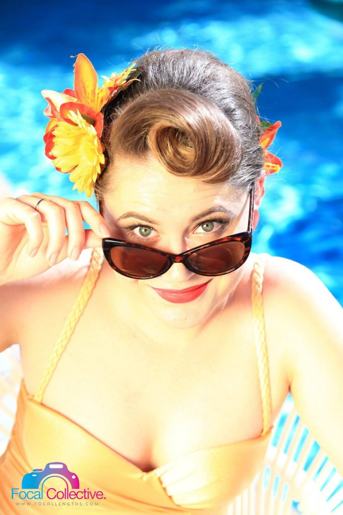 Retro Betty pinup pool party Lindy Charm School QT Hotel