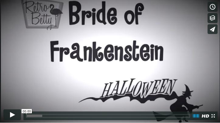 vintage halloween Bride of Frankenstein hair tutorial